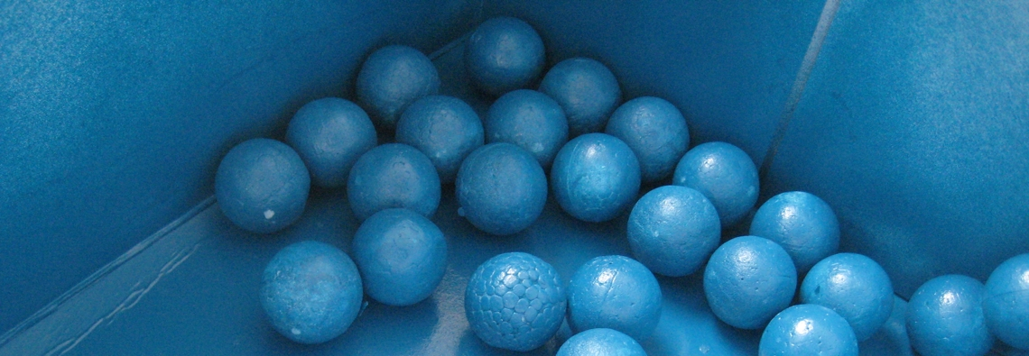 sparkling blue styrofoam balls