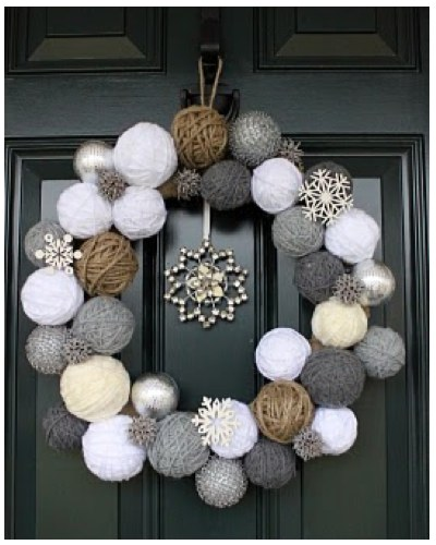 snowball wreath grey white