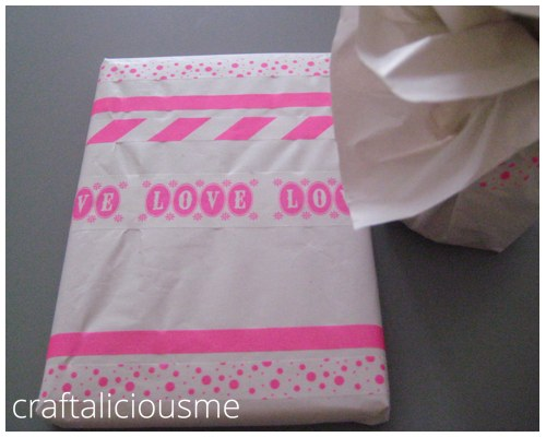 gift wrapping with masking tape