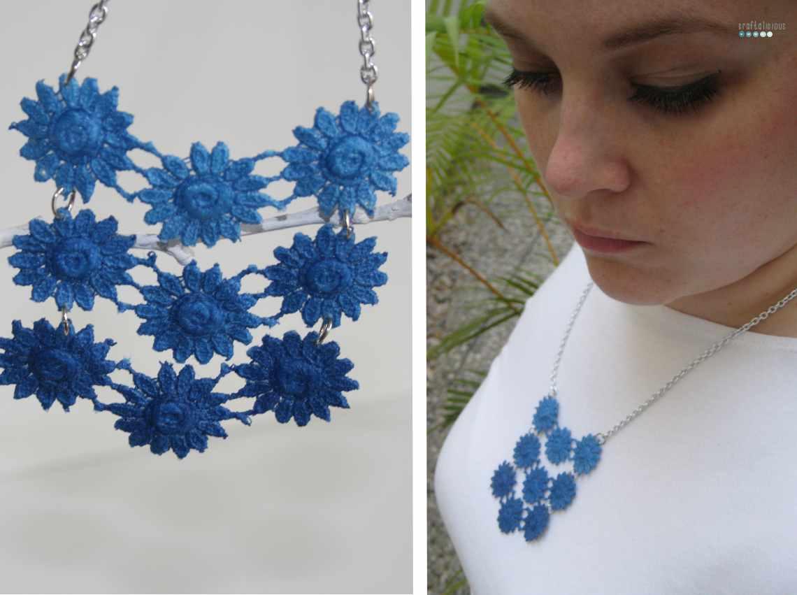 dip deyed lace necklace