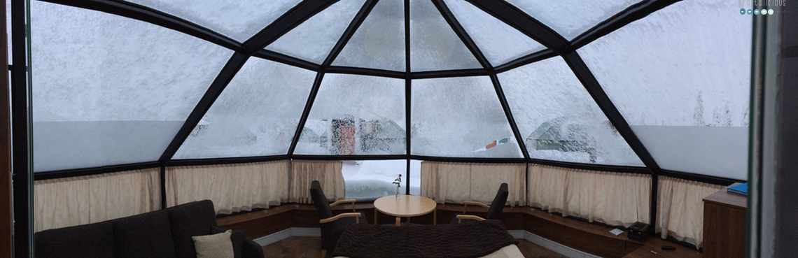 inside glass igloo