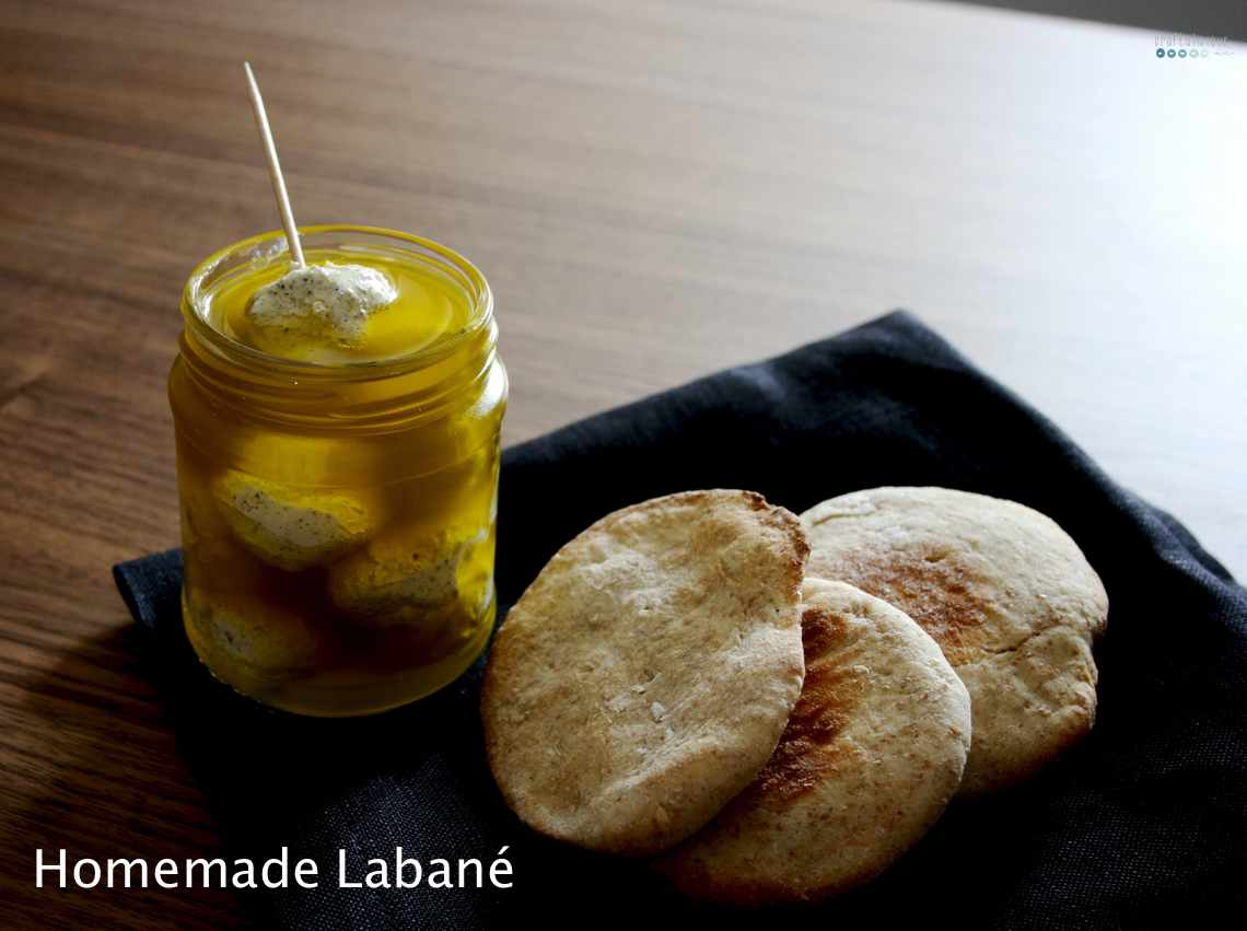 homemade labané with pita bread
