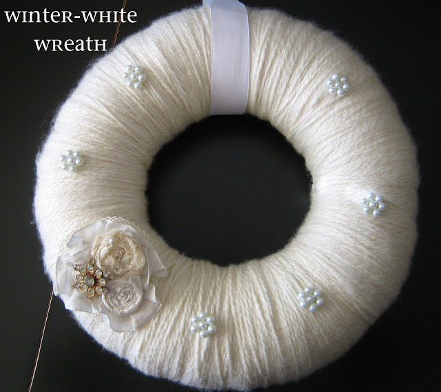 Pinterest Inspiration by PeppermintPlum white yarn wreath