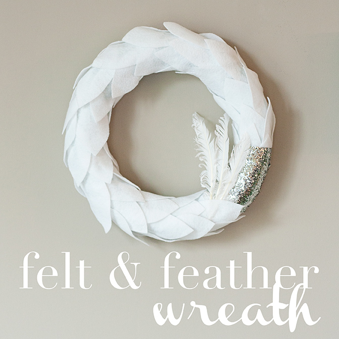 Pinterest Inspiration white felt feather wreath