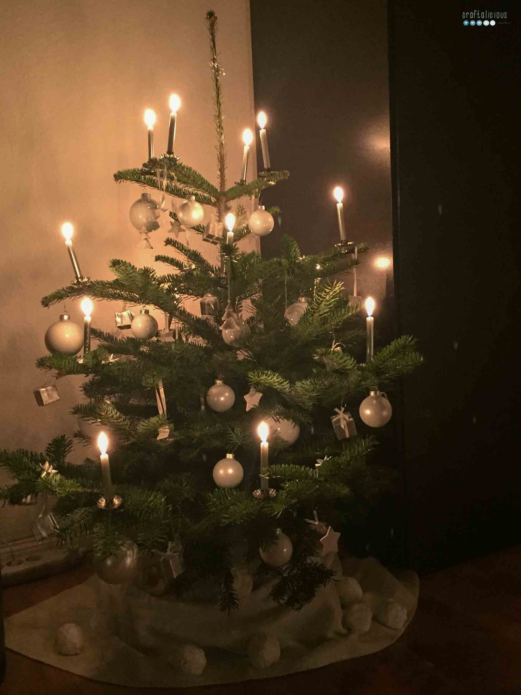 white silver christmas tree