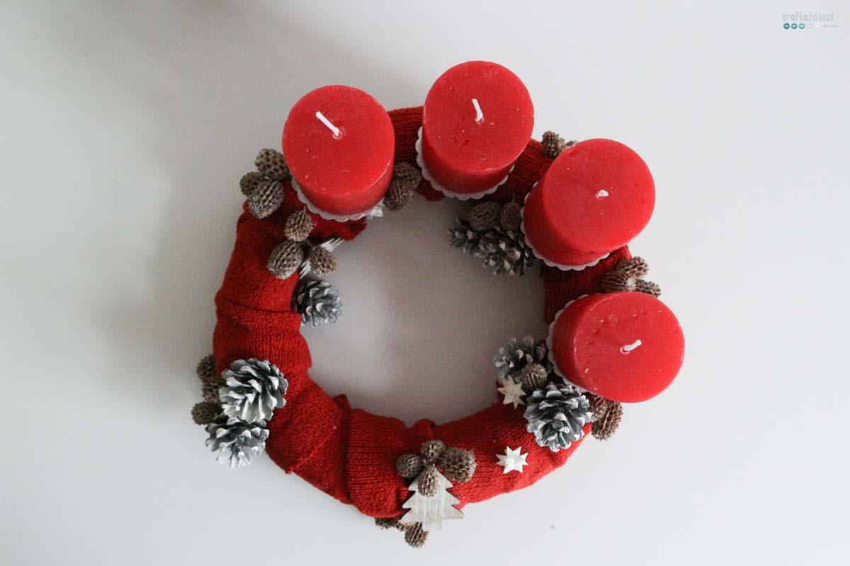 textile advent wreath made of sweater