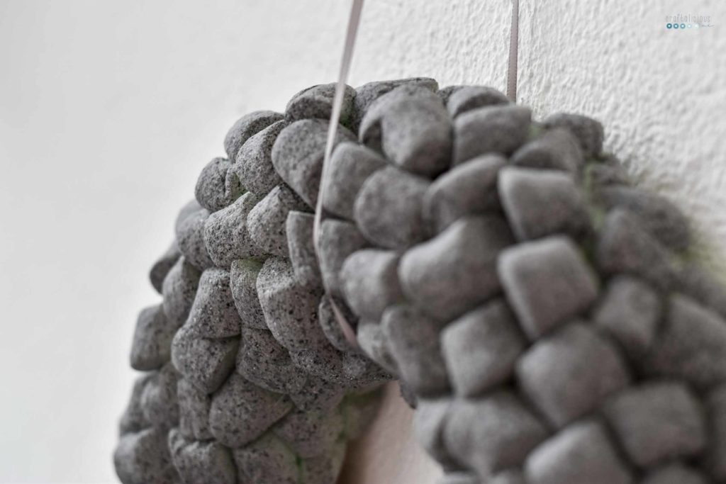 Recycling wreath in concrete finish detail craftaliciousme seeking creative life