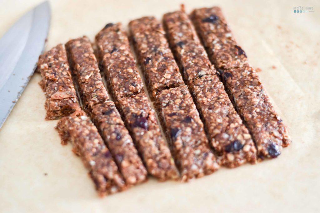 homemade granola bars spreaded cut